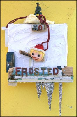 STRYCHNIN Gallery -  Greg Haberny - FROSTED, mixed media on wood, 30cm x 15cm € 570